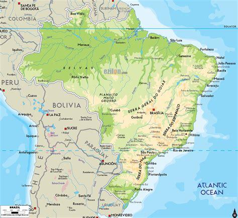 brazil physical map physical map of brazil ezilon maps