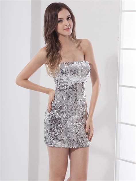 Murah Donela Mini Dress 2016 silver sequins sparkly dresses sheath tight fitted strapless mini
