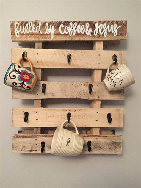 Ting Stand Coffee Ter Rack Ting Rack Coffee Ter Stand small pallet coffee mug holder by tealskiesdecor on etsy this but with a different saying