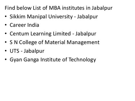 Sikkim Manipal Mba Study Material by List Of Mba Institutes In Jabalpur