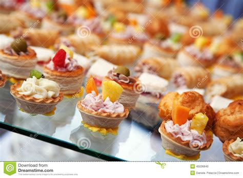 food for cocktail food for cocktail on wedding stock photo image