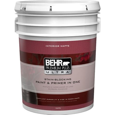 home depot 5 gallon interior paint behr premium plus ultra 5 gal ultra pure white flat matte