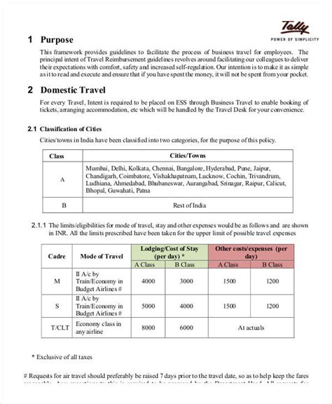 company travel policy template business policy template 9 free pdf documents