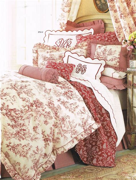 toile bedroom layers of red toile bedding textiles bedrooms pinterest