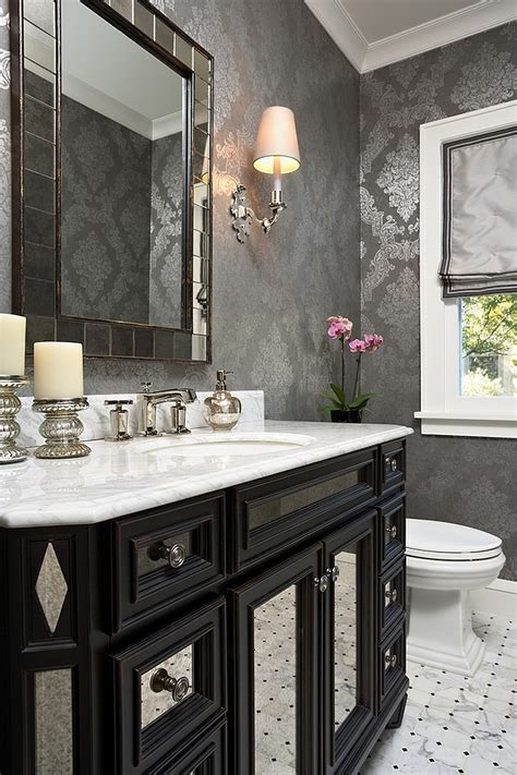 black white and silver bathroom ideas 20 gorgeous wallpaper ideas for your powder room