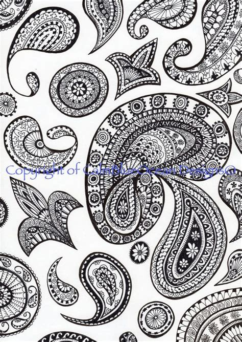 paisley pattern drawing intricate black and white retro paisley pattern by