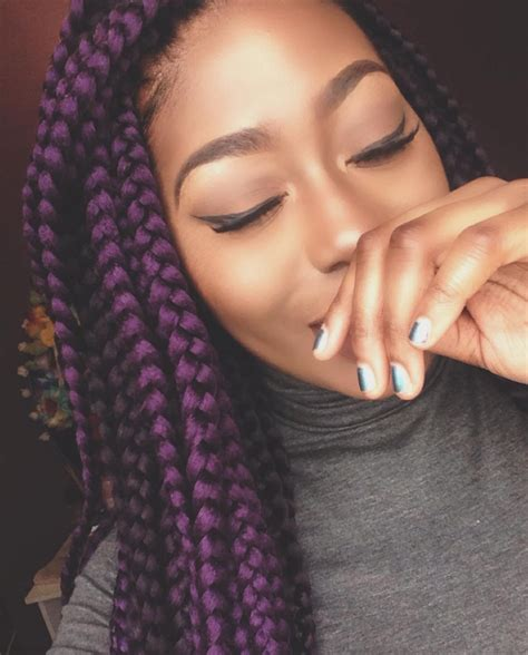 big braids in dark colours for blackwoman pretty purple pyt naomilabelle http community