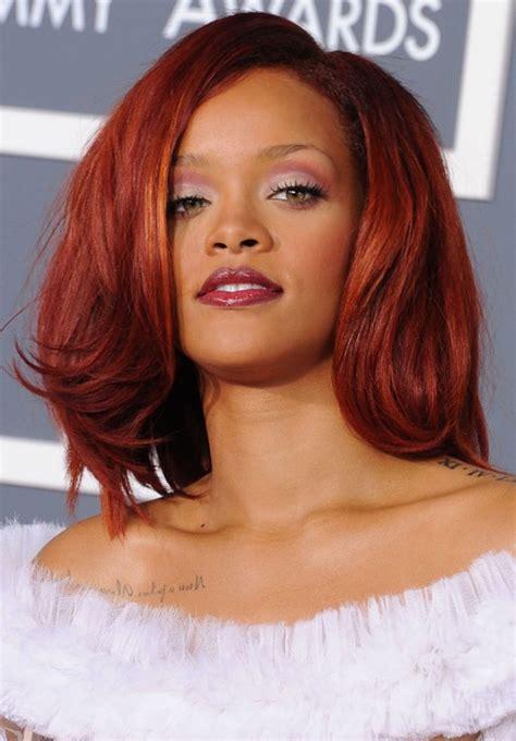 medium styled dark red haircuts for latinas rihanna hairstyles medium cherry red hair cherry red