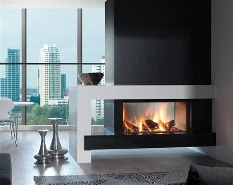 contemporary double sided fireplace house pinterest