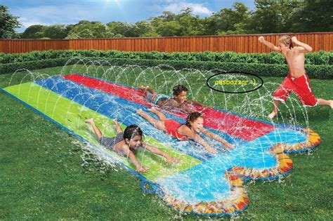 backyard slip n slide new triple slip n slide hydroplane deluxe backyard water
