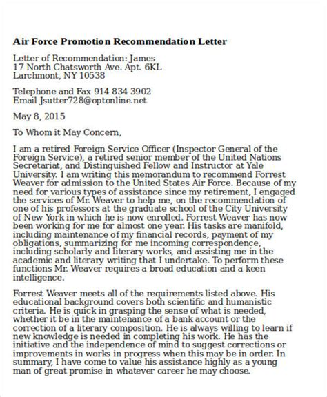Navy Promotion Letter 6 Sle Air Recommendation Letter Free Sle Exle Format