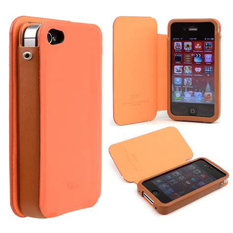 Wood Apple Iphone 4 4s 2 apple iphone 4 4s orange brown faux leather slide in w diary cover ebay
