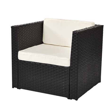 luxurious single sofa chair in black with piped cushions