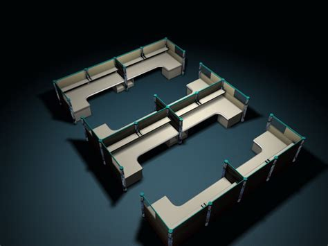 Office cubicles and partitions systems 3d model 3D Studio