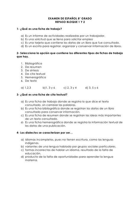cuestionarios de lenguaje 4 y 5 grado docscom examen de espa 241 ol 8 repaso de enlace