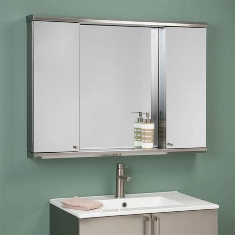 Rectangular Bathroom Mirror In The Middle Twin Stainless Mirrored Bathroom Cabinet With Shelves