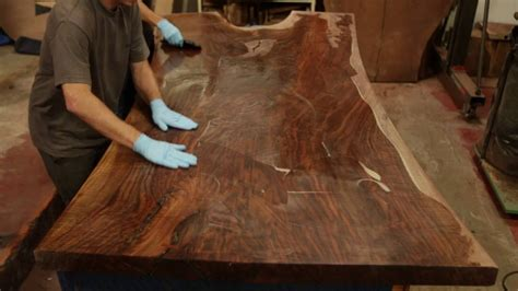 black walnut slab table top finishing a stunning claro walnut dining table top live