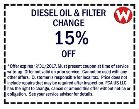 Chrysler Change Coupons by Chrysler Dodge Jeep Ram Service Specials Coupons