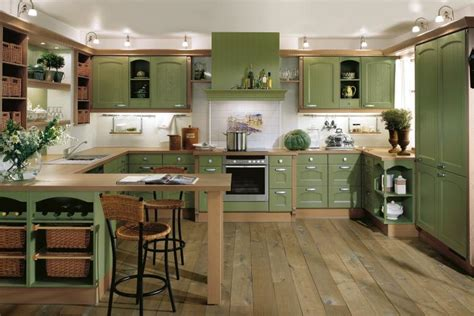 Green Country Kitchen Green Kitchen Interior Design Stylehomes Net