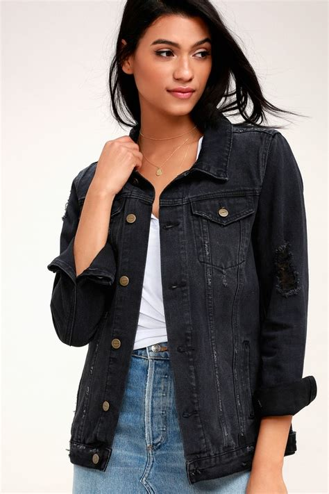 Distressed Washed Denim Jacket evidnt chartres washed black distressed denim jacket