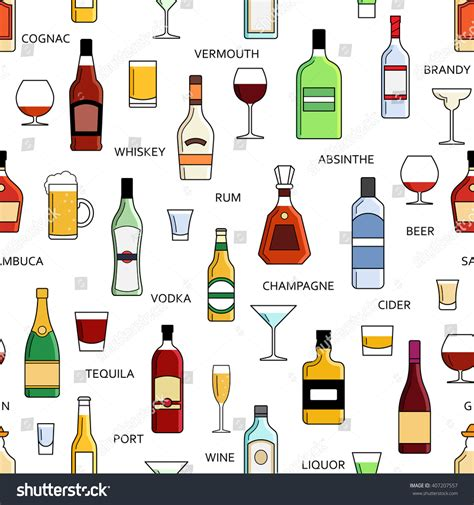 alcohol vector vector alcohol bottles collection seamless pattern stock