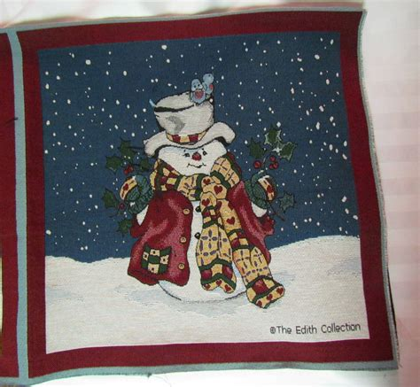 Fabric Pillow Panels by Snowman Top Hat Snow Edith Collection Tapestry