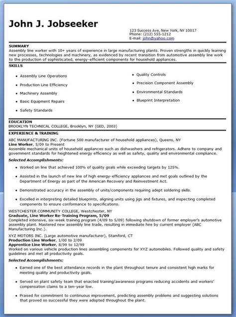 Lines For Resume by Production Line Worker Resume Exles Creative Resume