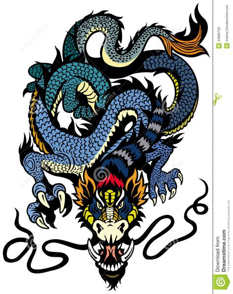 blue dragon tattoo royalty free stock image image 34985726