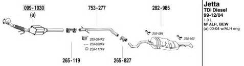 2000 Jetta Exhaust System Diagram Jetta Exhaust System Parts At Evwparts