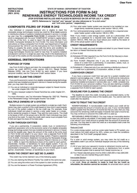 hawaii solar energy tax credit form for form n 342 renewable energy
