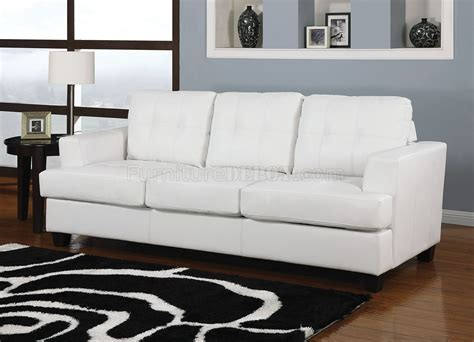 white bonded leather modern sofa w size sleeper