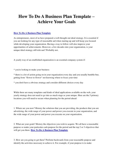 How To Do A Business Plan Template Achieve Your Goals How To Do A Business Template