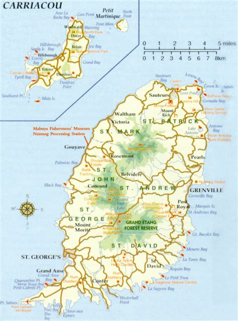 map of grenada island concord waterfall a in the isle of spice