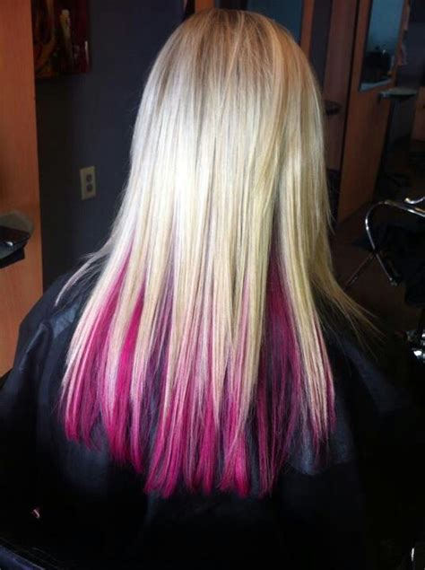 lowlighting the hair under the top layer pink under layer hair color pinterest pink