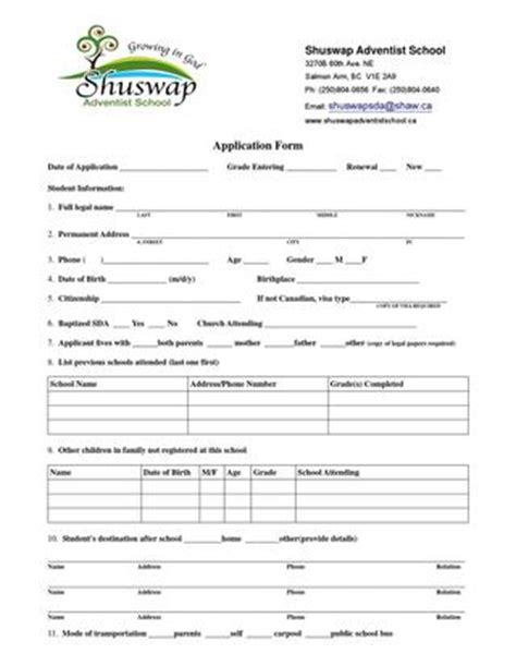 Shuswap Sda School Registration Form By Debbie White Issuu After School Club Registration Form Template