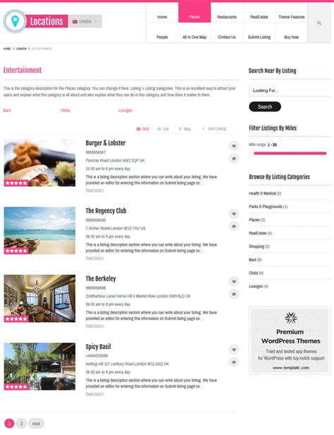 wordpress theme list categories locations directory theme wp local business directory