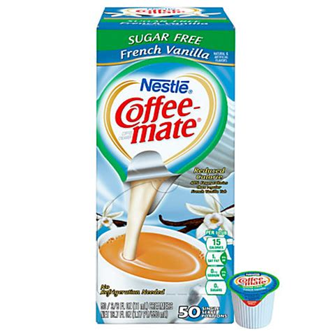 Nestle Coffee mate Liquid Creamer Singles Sugar Free French Vanilla 0.38 Oz Box Of 50 by Office