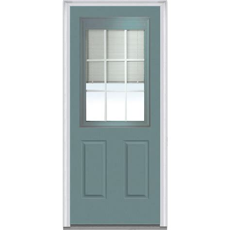 Blinds For Front Doors With Glass Milliken Millwork 36 In X 80 In Mini Blinds Clear Glass 3 4 Lite 2 Panel Primed White