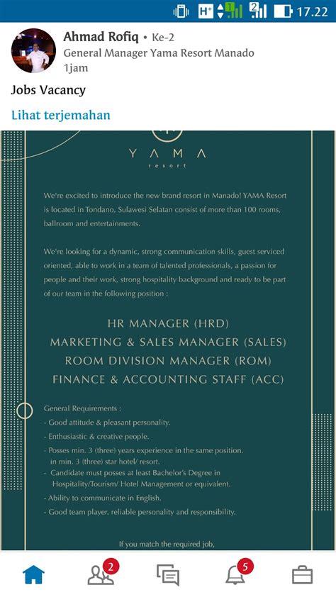 lowongan kerja yama resort manado  posisi lowongan kerja hotel