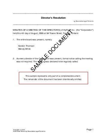 directors resolution canada templates