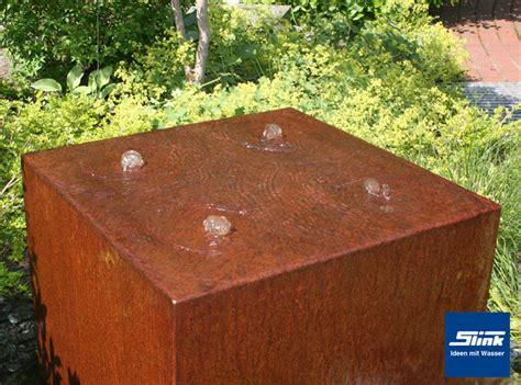 gartenbrunnen cortenstahl gartenbrunnen cortenstahl quader quattro kubistischer