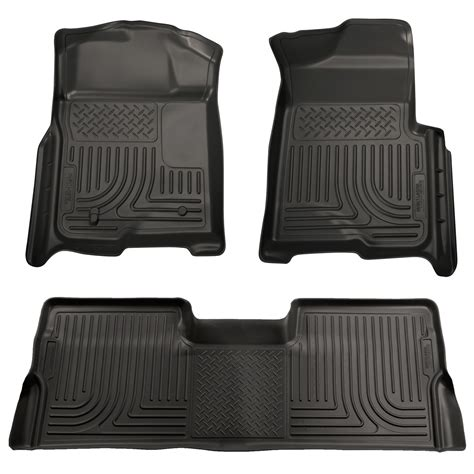 Ford F150 Supercrew Floor Mats 2009 2014 ford f150 supercrew cab floor mats black husky