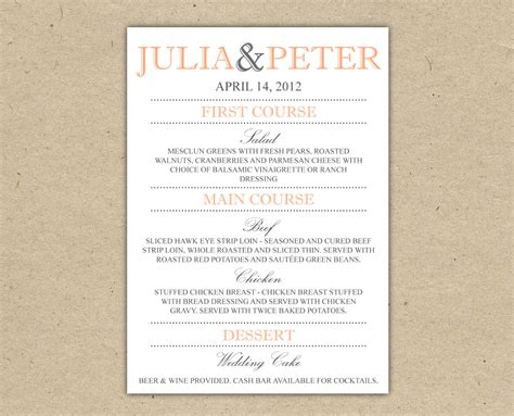 wedding reception menu template items similar to wedding menu dinner custom wedding