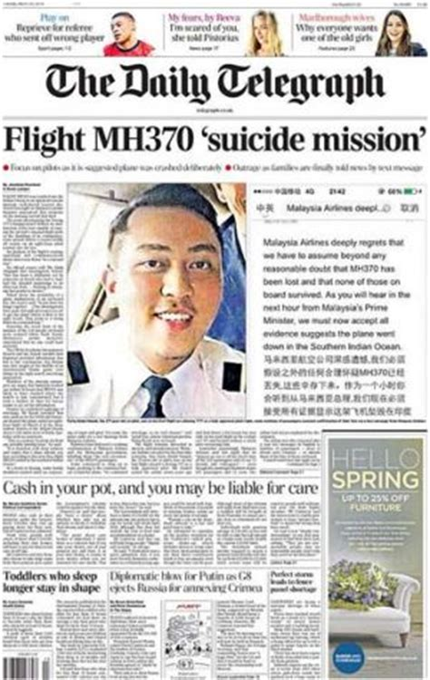 culture telegraph online daily telegraph sunday telegraph mh370 crashed in suicide mission britain s the daily