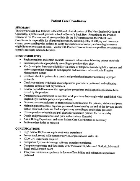exle of simple cover letter 2016 patient care coordinator resume sle