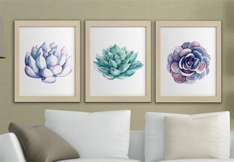 free printable wall art set succulents printable watercolor wall art set of 3 succulent