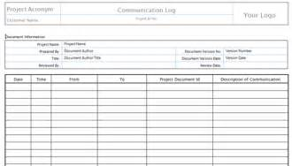 project communication log template