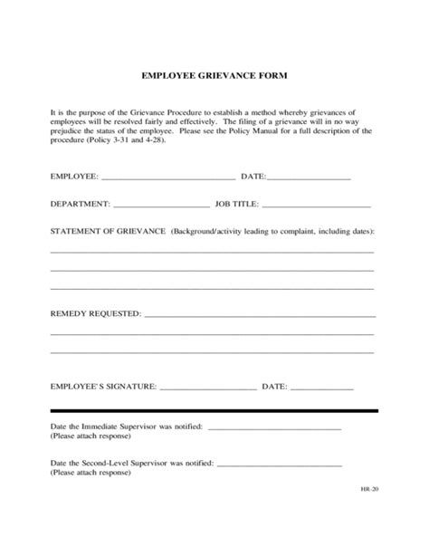 Grievance Report Template