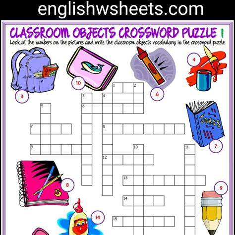 printable games for classroom classroom objects esl printable crossword puzzle