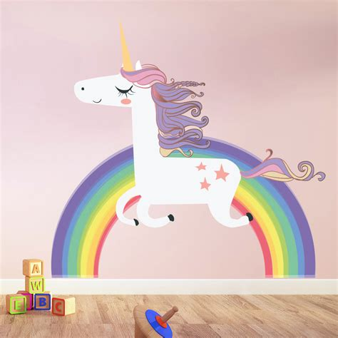 rainbow wall stickers uk unicorn wall sticker rainbow wall decal bedroom nursery home decor ebay